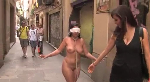 Watch video Barcelona streets – Naked and Blindfolded