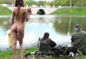 Watch video Nude girl meets the fishermen